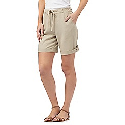 Beach Collection - Natural linen blend cargo shorts