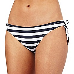 J by Jasper Conran - Navy striped print bikini bottoms