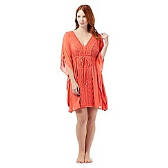 Beach Collection - Coral embroidered kaftan