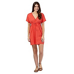 Beach Collection - Coral spot embroidered kaftan