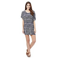 Beach Collection - Navy uneven stripe t-shirt dress