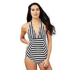 J by Jasper Conran - Navy striped print swimsuit
