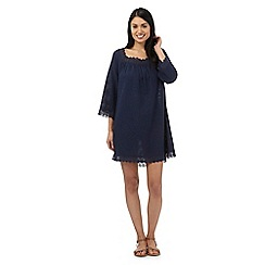 Beach Collection - Navy textured stripe crochet trim kaftan