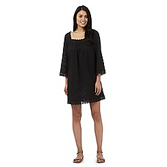 Beach Collection - Black textured stripe crochet trim kaftan
