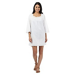 Beach Collection - White textured stripe crochet trim kaftan