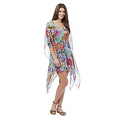 Beach Collection - Aqua floral kaftan