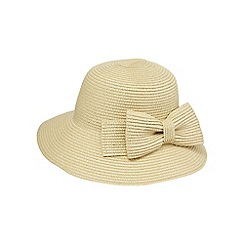 Beach Collection - Beige bow short brim hat