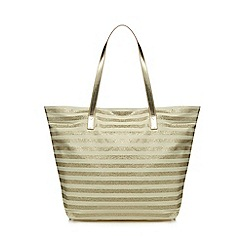 Beach Collection - Gold striped print shopper bag