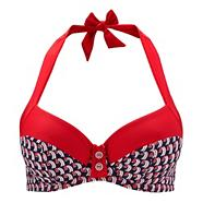 Red halter neck bikini top
