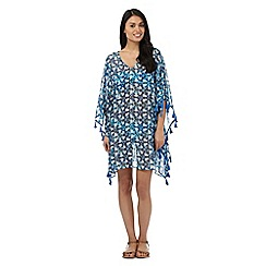 Butterfly by Matthew Williamson - Blue floral pom pom kaftan