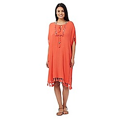 Butterfly by Matthew Williamson - Coral pom pom kaftan