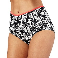 Red Herring - Black palm print high waist bikini bottoms
