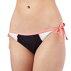 Red Herring - Red colour block side tie bikini bottoms