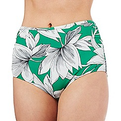 J by Jasper Conran - Green waterlily print high waisted bikini bottoms