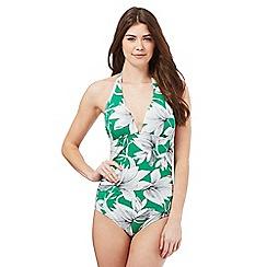 J by Jasper Conran - Green waterlily print tummy control swimsuit