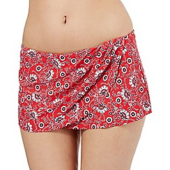 Gorgeous DD+ - Red floral print skirt bikini bottoms