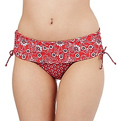 Gorgeous DD+ - Red floral print skirt bikini pants