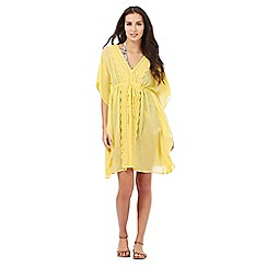 Beach Collection - Yellow broderie kaftan