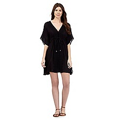 Beach Collection - Black lace embroidered kaftan