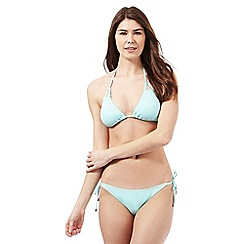 Red Herring - Aqua plain triangle halter neck bikini top
