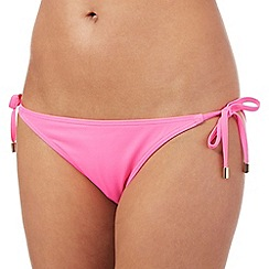 Red Herring - Bright pink plain side tie bikini bottoms