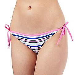 Red Herring - Blue textured stripe tie bikini bottoms