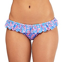 Floozie by Frost French - Blue seahorse print scalloped bikini bottoms