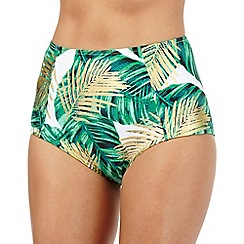 Butterfly by Matthew Williamson - Green and gold leaf print high waisted bikini bottoms