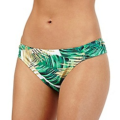 Butterfly by Matthew Williamson - Green and gold leaf print bikini briefs