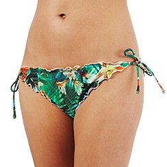 Butterfly by Matthew Williamson - Green frill jungle print bikini bottoms