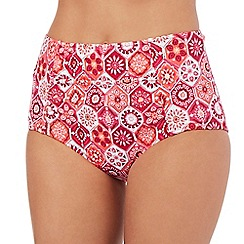 Butterfly by Matthew Williamson - Pink tiled floral print high waisted bikini bottoms