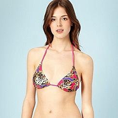 Lipsy - Bright pink chain printed bikini top