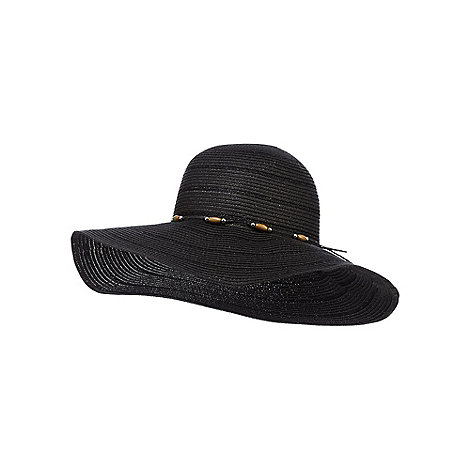 Beach Collection - Black beaded floppy hat