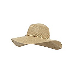 Beach Collection - Beige beaded floppy hat