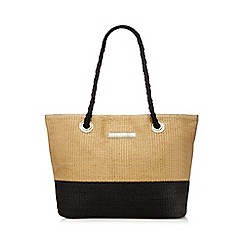 Beach Collection - Tan and black straw shopper bag