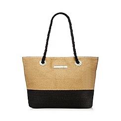 Beach Collection - Tan and black straw shopper bag