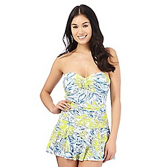 Beach Collection - Multi-coloured tummy control floral print skirt swimsuit