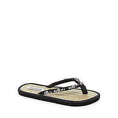 Beach Collection - Black jewelled rattan sandals