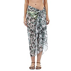 Beach Collection - Grey leaf print sarong