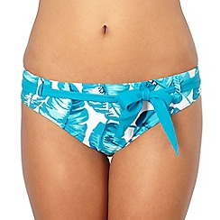 Beach Collection - Turquoise large leaf belted bikini bottoms