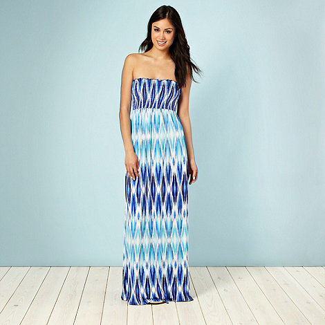 Beach Collection - Blue ikat print maxi dress - size 12