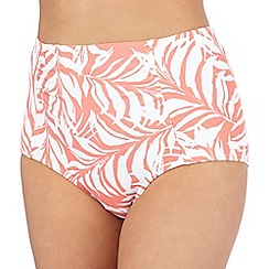 Beach Collection - Coral leaf print high-waisted bikini bottoms