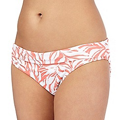 Beach Collection - Coral palm print bikini bottoms