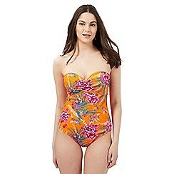 Gorgeous DD+ - Orange floral print swimsuit