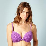 Purple polka dot 'extreme boost' bikini top
