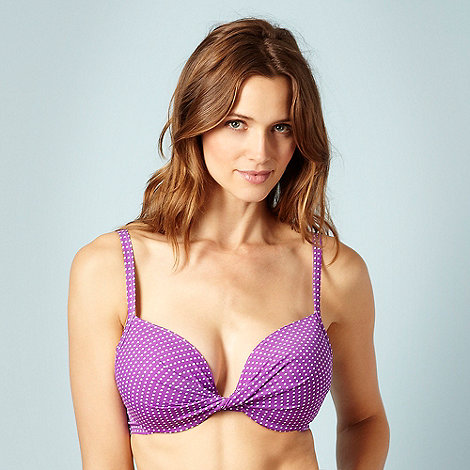 Ultimate Beach - Purple polka dot +extreme boost+ bikini top