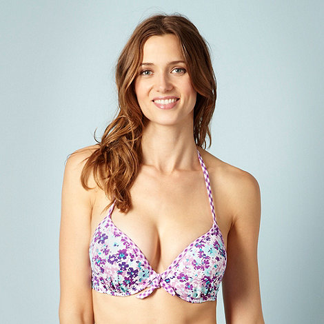 Ultimate Beach - Purple floral extreme boost underwired bikini top