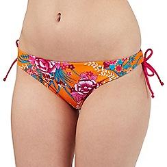 Gorgeous DD+ - Orange floral print bikini bottoms