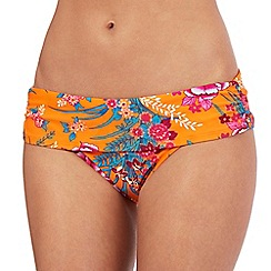 Gorgeous DD+ - Orange floral print folded waist bikini bottoms