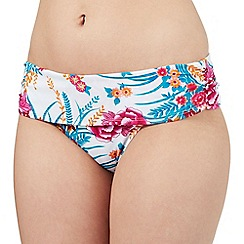 Gorgeous DD+ - White floral print folded waist bikini bottoms